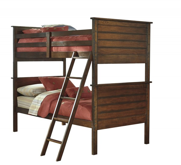 Ladiville Vintage Casual Rustic Brown Bunk Bed Rails B567-59R